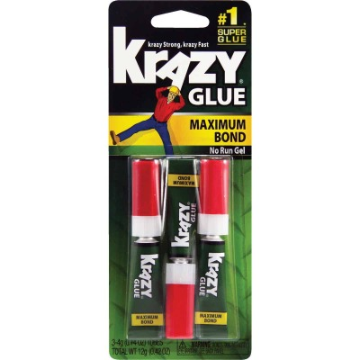 Krazy Glue 0.14 Oz. Maximum Bond Super Glue Gel (3-Pack)