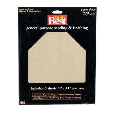 Do it Best General Purpose 9 In. x 11 In. 220 Grit Extra Fine Sandpaper (5-Pack)
