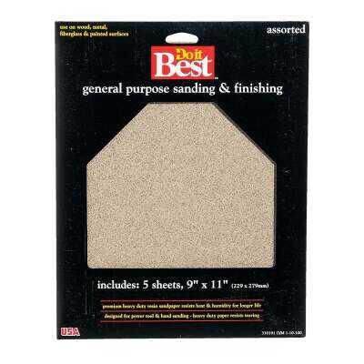 Do it Best General Purpose 9 In. x 11 In. 220/150/100/60 Grit Assorted Grade Sandpaper (5-Pack)