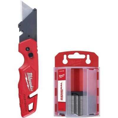 Milwaukee FASTBACK Folding Utility Knife w/Storage and 50-Piece General Purpose Blades