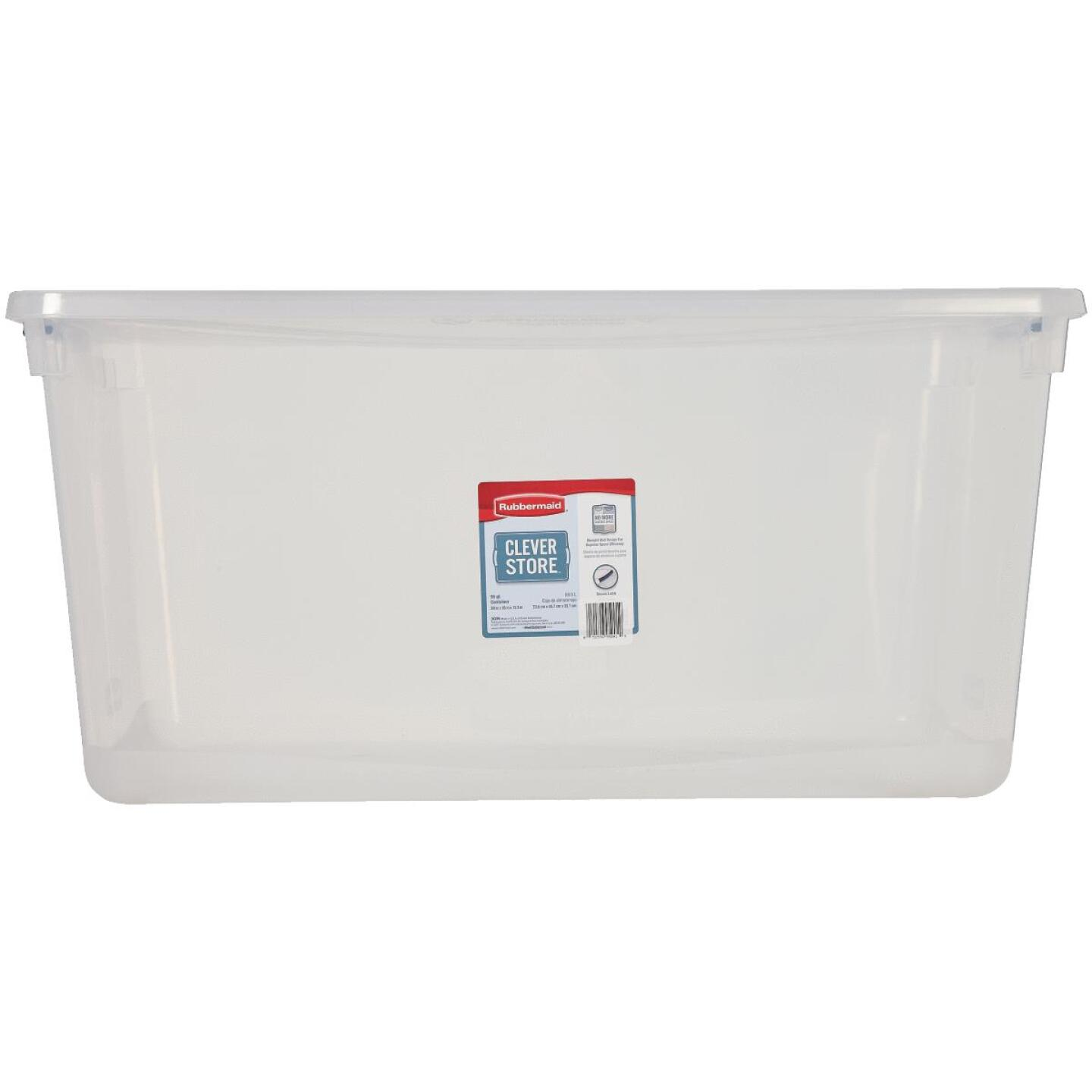 Rubbermaid 95 Qt. Clear Clever Store Latching Lid Storage Tote Image 2