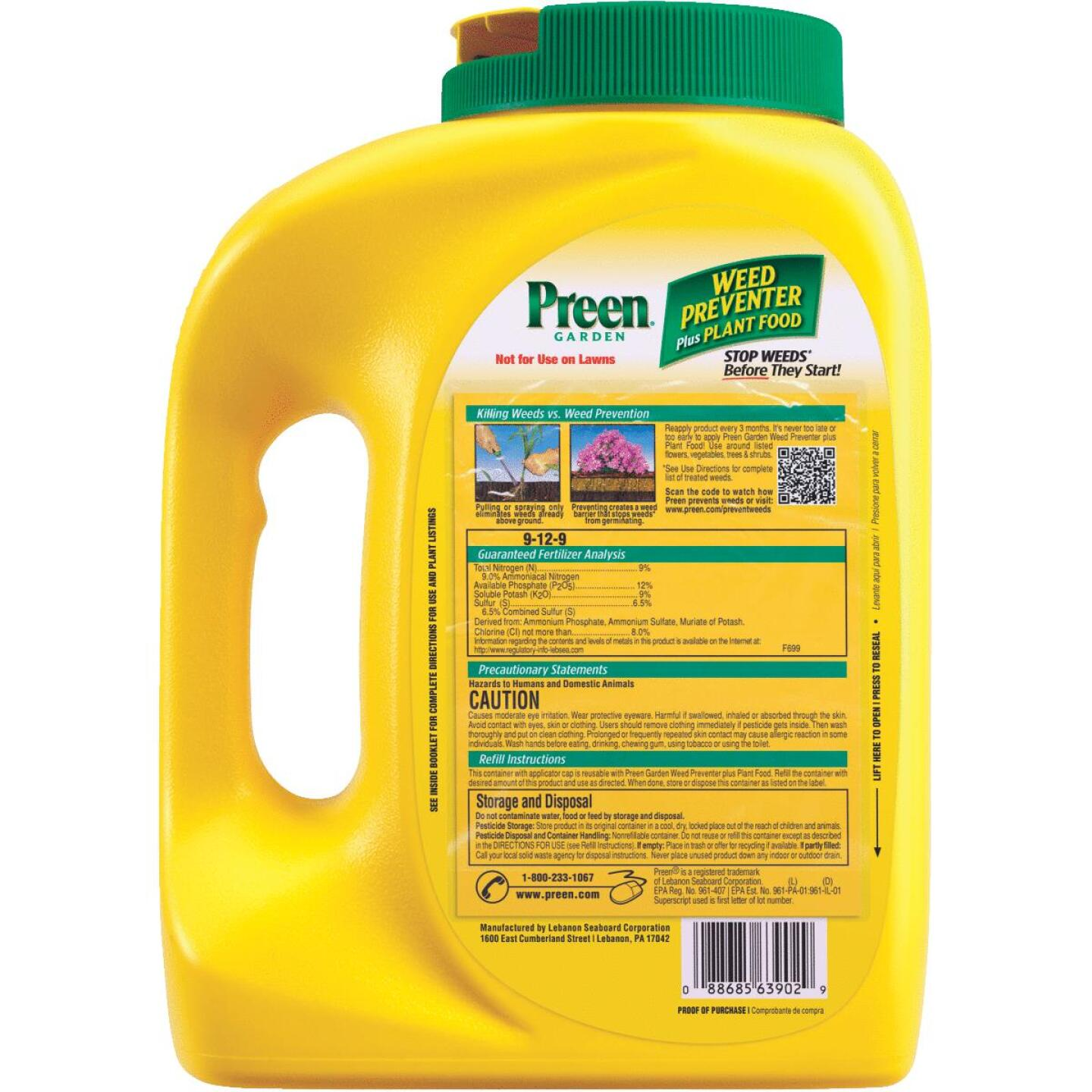Preen 5.625 Lb. Ready To Use Granules Garden Weed Preventer Plus Plant Food Image 2