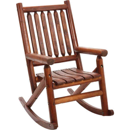 Leigh Country Amber-Log Stained Amber Acacia Wood Single Porch Rocker